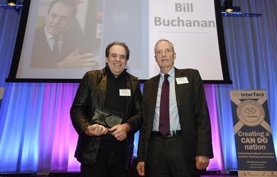 Professor Bill Buchanan receiving award from Professor Donald MacRae at the Scottish Knowledge Exchange Awards