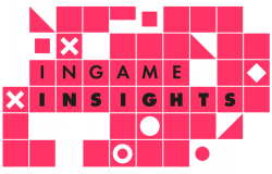 InGame Insights event banner with pink squares and white circles and crosses